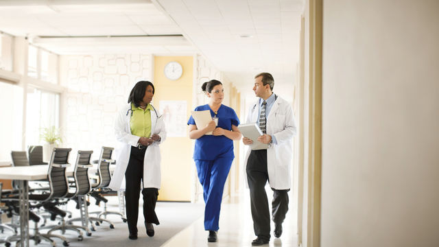Clinicians in hallway